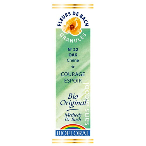 22 Fleur de bach Oak en granules avec alcool Biofloral