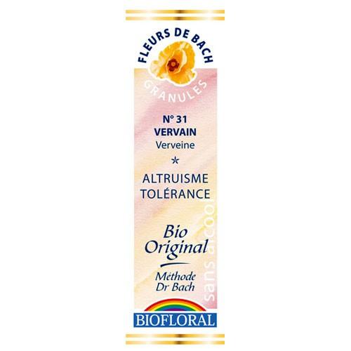 31 Fleur de bach Vervain en granules avec alcool Biofloral