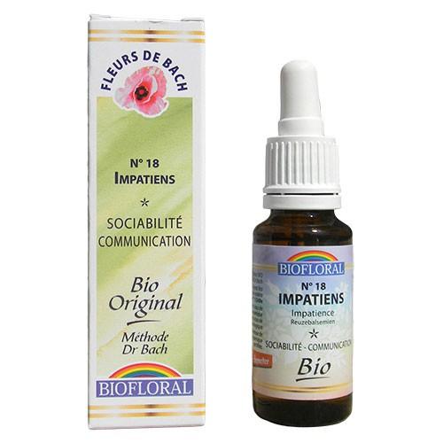 18 Fleur de bach Impatiens en goutte avec alcool Biofloral