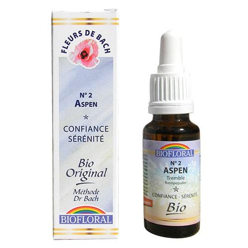 2 Fleur de bach Aspen en goutte avec alcool Biofloral